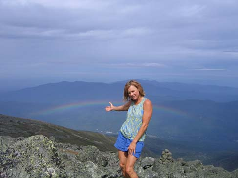 Diane serving up a rainbow on Mt. Adams (photo by Mark Malnati)