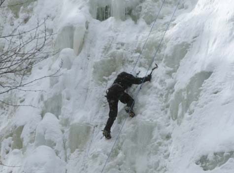 Ice climber on the frozen Arethusa Falls (photo by Mark Malnati)
