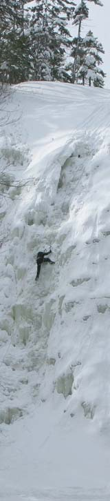 Ice climber on Arethusa Falls (photo by Mark Malnati)