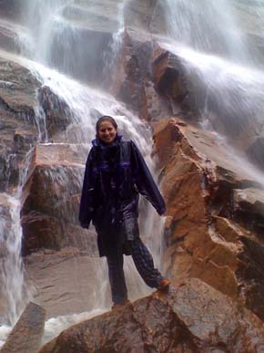 Standing in the spray of Arethusa Falls (photo by Bill Mahony)