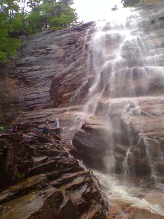 Arethusa Falls: the people in the left lower half of the photo give it scale (photo by Bill Mahony)