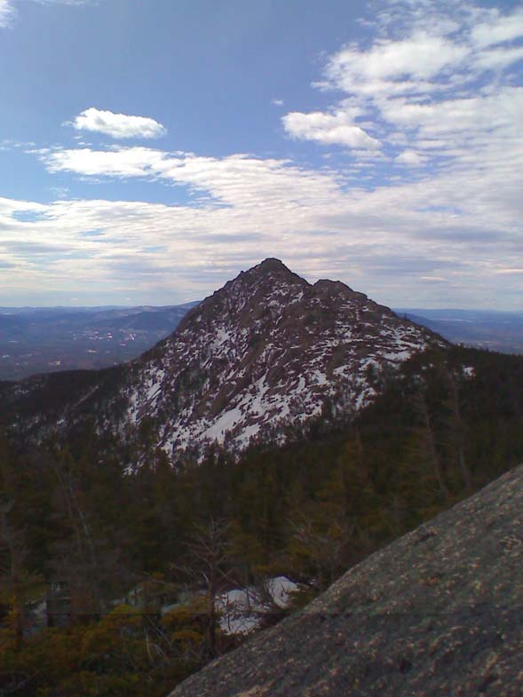 The exposed, double peaks of Mt. Chocorua (photo by Bill Mahony)