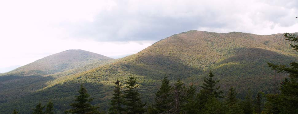 Chandler Mountain (left) and Sable Mountain (right) as seen from the summit of Eastman Mountain (photo by Webmaster)
