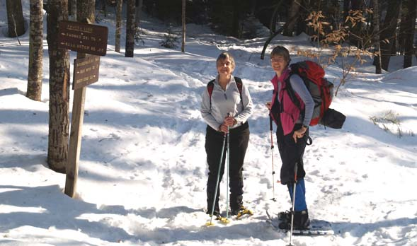 Patty and Kathy at the first trail junction with Paugus Link Trail (photo by Webmaster)