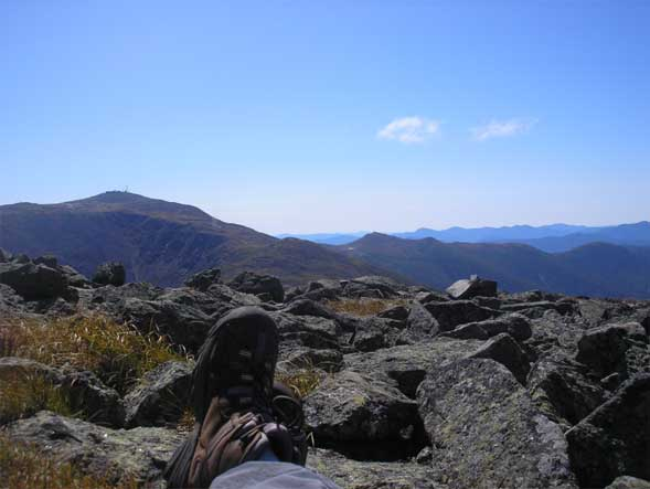 View of Mount Washington from our lunch spot on the summit of Mount Jefferson (photo by Kathy Veilleux)