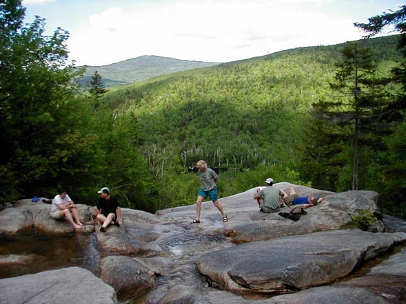 Soaking our feet at the Whitewall Brook outlook (photo by James Horner)
