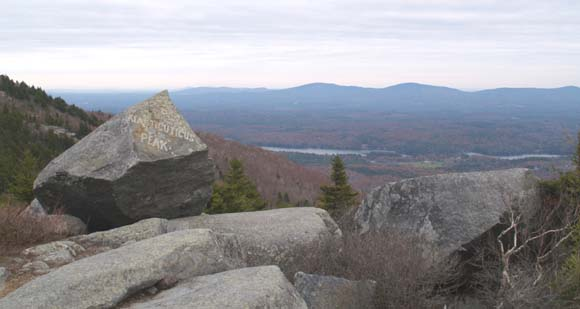 "View from Bald Rock, including the rock engraved with ""Kiasticuticus Peak"" on the left (photo by Webmaster)"