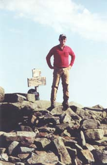 Tom on the summit of Mt. Moosilauke (photo by Webmaster)