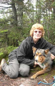 Mary and Zvijezda atop Mt. Nancy - another completed on their New England's 100 Highest checklist (photo by Mary Sheldon)