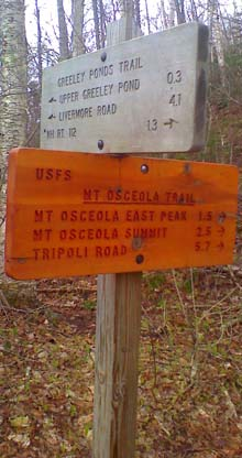 Trail signs at the junction of Greeley Ponds Trail and Mount Osceola Trail (photo by Bill Mahony)