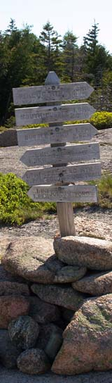 Trail signs on Pemetic Mountain (photo by Webmaster)