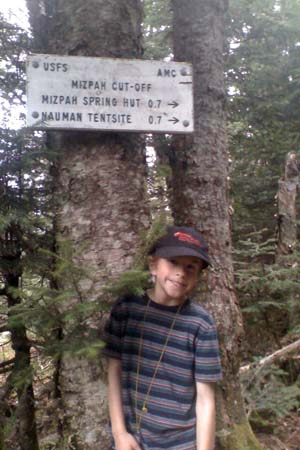 Joshua at the junction of Crawford Path and Mizpah Cutoff (photo by Bill Mahony)