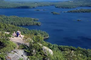 View of Squam Lake from West Rattlesnake's ledges (photo by Ben Kimball for the NH Natural Heritage Bureau)