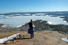 View from West Rattlesnake of Squam Lake in March  (photo by Ben Kimball for the NH Natural Heritage Bureau)