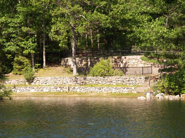 Terraced lawns overlooking Chickering Pond (photo by Webmaster)