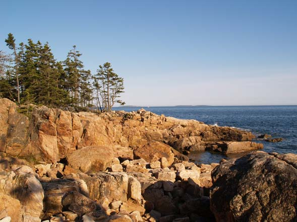 View of ledges and the ocean from Ship Harbor Trail (photo by Webmaster)