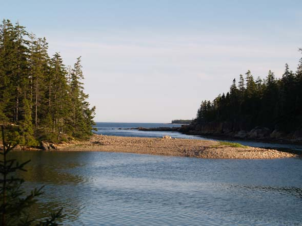 View of the gravel bar in Ship Harbor with the ocean farther out behind it (photo by Webmaster)