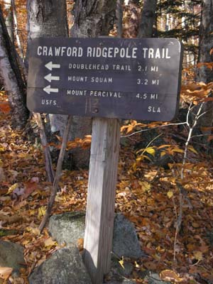 Crawford-Ridgepole Trail signpost (photo by Mike Dickerman)