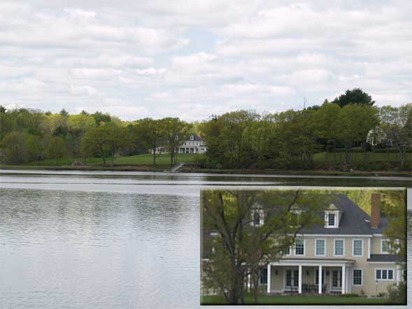 View of Oyster River from the woods trail.  Inset is a close-up of the house across the river. (photo by Webmaster)
