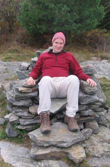 Dennis relaxing in one of the several stone chairs (photo by Dennis Marchand)