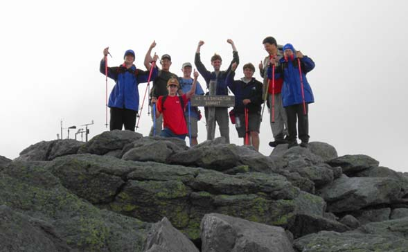 They can because they think they can!  The group on Mount Washington's summit (photo by Jon Salisbury & Steve Fiedler)