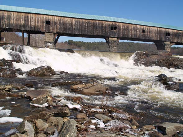 Spring photo of the Bath covered bridge and waterfalls (photo by Webmaster)