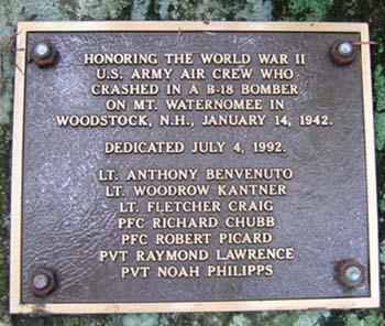 Plaque at B18 Bomber crash site (photo by Mark Malnati)