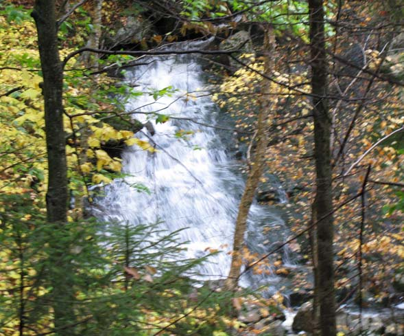 Waterfall seen through the trees from the B18 Crash Trail (photo by Karl Searl)