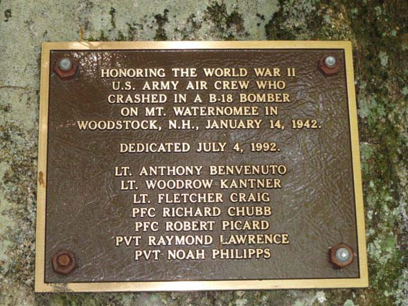 Plaque honoring the crew of the B18 bomber (photo by Jim Gonia)