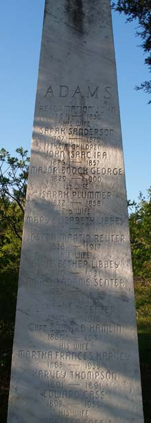 Adams family obelisk (photo by Webmaster)