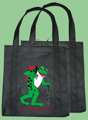 Reusable froggy shopping bags